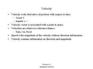 Velocity Velocity is the derivative of position with