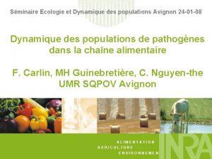 Sminaire Ecologie et Dynamique des populations Avignon 24