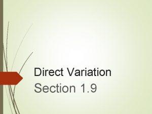 Direct Variation Section 1 9 Notes Direct Variation