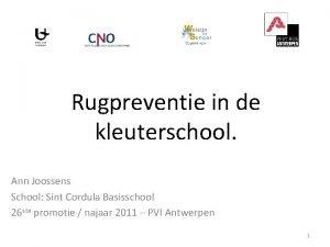 Rugpreventie in de kleuterschool Ann Joossens School Sint