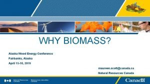 WHY BIOMASS Alaska Wood Energy Conference Fairbanks Alaska