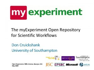 The my Experiment Open Repository for Scientific Workflows