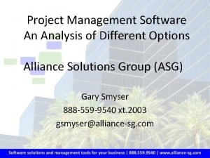 Project Management Software An Analysis of Different Options