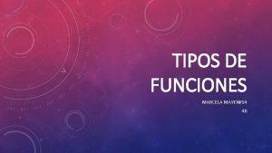 TIPOS DE FUNCIONES MARCELA MAYEN14 4 B FUNCIONES