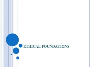 ETHICAL FOUNDATIONS ETHICS The study of morality Ethics