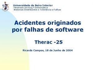 Universidade da Beira Interior Mestrado em Eng Informtica