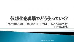 Remote App HyperV VDI RDGateway Network copyright c