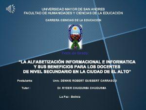 UNIVERSIDAD MAYOR DE SAN ANDRES FACULTAD DE HUMANIDADES