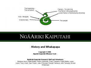 The beginning The ancestors Flames Te Aahi Kaa