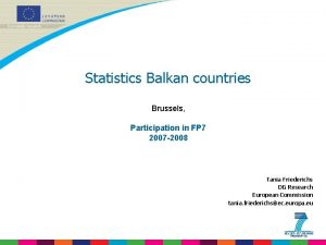 Statistics Balkan countries Brussels Participation in FP 7