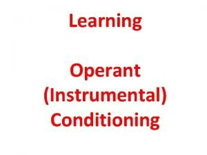 Learning Operant Instrumental Conditioning Operant Conditioning Operant Conditioning