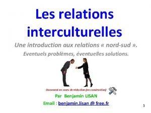 Les relations interculturelles Une introduction aux relations nordsud