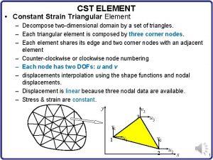 CST ELEMENT Constant Strain Triangular Element Decompose twodimensional