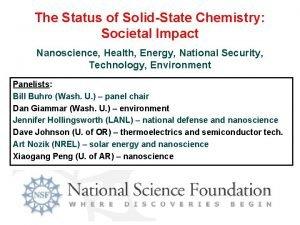 The Status of SolidState Chemistry Societal Impact Nanoscience