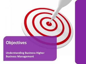 Objectives Understanding Business Higher Business Management Objectives are