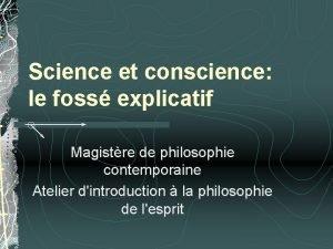 Science et conscience le foss explicatif Magistre de