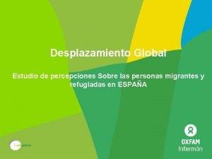 Desplazamiento Global Estudio de percepciones Sobre las personas