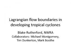 Lagrangian flow boundaries in developing tropical cyclones Blake