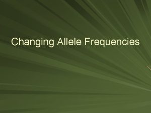 Changing Allele Frequencies Allelic Frequencies Change When There