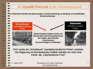 Die Republik sterreich in der Zwischenkriegszeit In sterreich