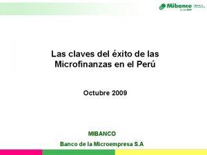 Las claves del xito de las Microfinanzas en