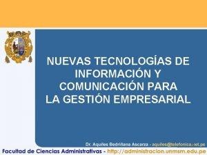 NUEVAS TECNOLOGAS DE INFORMACIN Y COMUNICACIN PARA LA