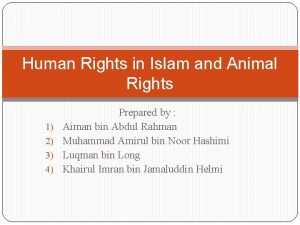 Human Rights in Islam and Animal Rights 1