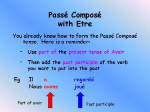 Pass Compos with Etre You already know how