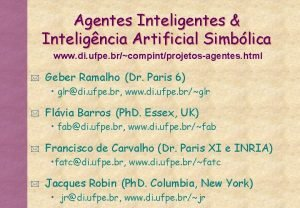 Agentes Inteligentes Inteligncia Artificial Simblica www di ufpe
