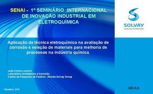 SENAI 1 SEMINRIO INTERNACIONAL DE INOVAO INDUSTRIAL EM