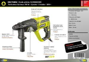 ERH 750 RSC Code article 5133002209 Perforateur burineur