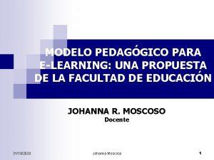 MODELO PEDAGGICO PARA ELEARNING UNA PROPUESTA DE LA
