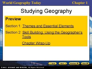 World Geography Today Chapter 1 Studying Geography Preview