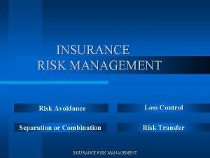 INSURANCE RISK MANAGEMENT Risk Avoidance Loss Control Separation