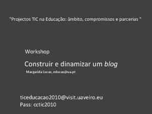 Projectos TIC na Educao mbito compromissos e parcerias