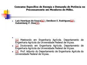 Consumo Especfico de Energia e Demanda de Potncia