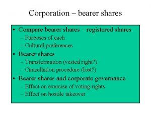 Corporation bearer shares Compare bearer shares registered shares