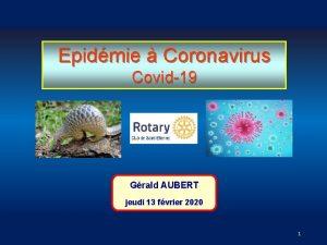 Epidmie Coronavirus Covid19 Grald AUBERT jeudi 13 fvrier