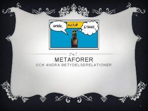METAFORER OCH ANDRA BETYDELSERELATIONER 1 Metaforer och andra