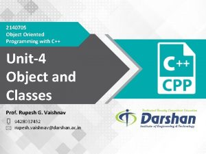 2140705 Object Oriented Programming with C Unit4 Object