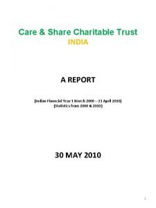 Care Share Charitable Trust INDIA A REPORT Indian
