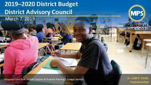 2019 2020 District Budget District Advisory Council March