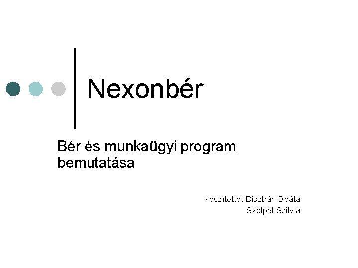 Nexonbr Br s munkagyi program bemutatsa Ksztette Bisztrn