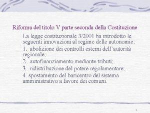 Riforma del titolo V parte seconda della Costituzione