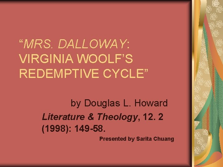 MRS DALLOWAY VIRGINIA WOOLFS REDEMPTIVE CYCLE by Douglas