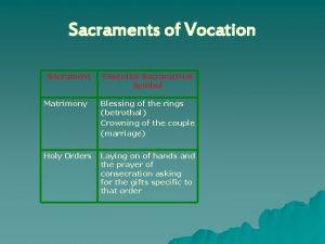 Sacraments of Vocation Sacrament Essential Sacramental Symbol Matrimony