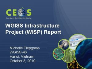 Committee on Earth Observation Satellites WGISS Infrastructure Project