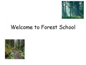 Welcome to Forest School What is Forest School