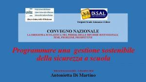 Libera Universit di Bolzano Dirigenti Scuole Autonome e