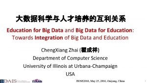 Education for Big Data and Big Data for